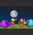 camping children at night vector image