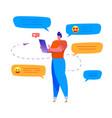 cartoon man sending message smartphone vector image