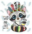 cartoon raccoon with feathers on a feathers vector image vector image