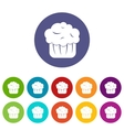 Cupcake set icons vector image vector image