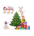 cute mice decorate christmas tree christmas vector image
