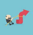 elderly businessman is using a rope to pull the vector image vector image