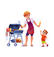 father and son on picnic grilling bbq corn isolate vector image vector image