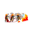 firemen spraying water on fire firefighter vector image vector image