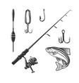 fishing tackle fresh seafood sturgeon template vector image