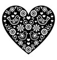 folk art valentines day heart in black and white vector image