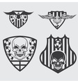 football team crests set with eagles and skulls vector image