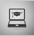 graduation cap and laptop online learning concept vector image vector image