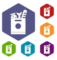 Grocery bag with food icons set vector image vector image