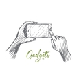 Hand drawn smartphone in human hands lettering vector image vector image