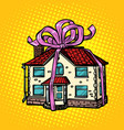 house gift real estate in the festive tape vector image