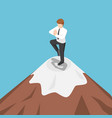 isometric businessman doing yoga on the top of vector image vector image