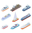 isometric ships vessels shipping nautical boats vector image vector image