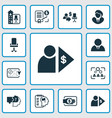 job icons set with employee office building vector image