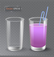 juice and an empty glass fruit organic drink vector image vector image