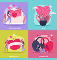 love couple flat icon set vector image vector image