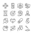 medical technology line icon set vector image