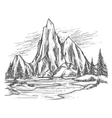 Mountain lake with pine trees vector image vector image