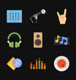 nine universal flat music icons vector image vector image