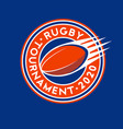 rugby tournament logo ball championship emblem vector image vector image