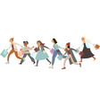 running girls carrying shopping bags vector image