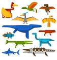 Sea and flying dinosaurs jungle forest wildlife vector image vector image