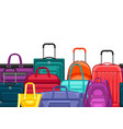 seamless pattern with travel suitcases and bags vector image vector image