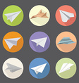 set collection of origami paper plane icons vector image