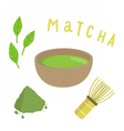 Set for making matcha tea vector image vector image
