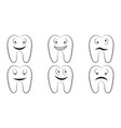set of cartoon teeth the molars with the emotions vector image
