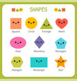 set of smiling geometric figures comic cartoon vector image
