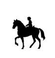 silhouette girl rider horseback equitation vector image