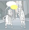 sketches cartoon talking men on street vector image