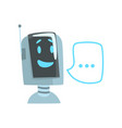 smiling funny robot and speech bubble voice vector image vector image