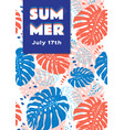 summer poster tropical leaves background vector image vector image