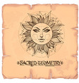 sun vintage stylized outline drawing of the sun vector image vector image