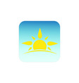 the blue icon with the sun on a white background vector image vector image
