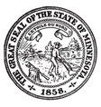 the great seal of the state of minnesota vintage vector image vector image