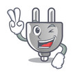 two finger power plug in the character shape vector image