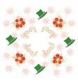 White Pattern with Poinsettia and Snowflakes vector image