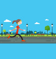 woman running on road in city park vector image