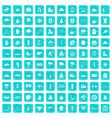 100 winter sport icons set grunge blue vector image vector image