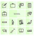 14 school icons vector image vector image