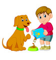 a little boy is giving food for his big brown dog vector image vector image