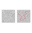 abstract square maze simple flat isolated on vector image