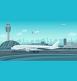 airport terminal building with aircraft taking off vector image