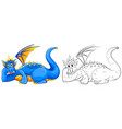 animal doodle for wild dragon vector image vector image