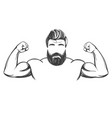 arm bicep strong bearded man hand drawn vector image