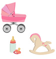 Baby perambulator bottle nipple and rocking horse vector image vector image