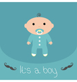 Baby shower card with mustache Its a boy Flat desi vector image vector image
